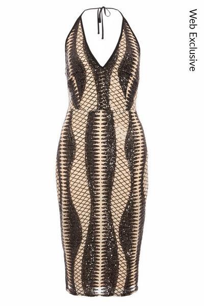 Black and Stone Sequin Halterneck Midi Dress